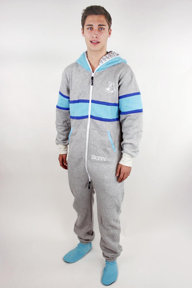 Dospělé dupačky Skippy grey blue strip