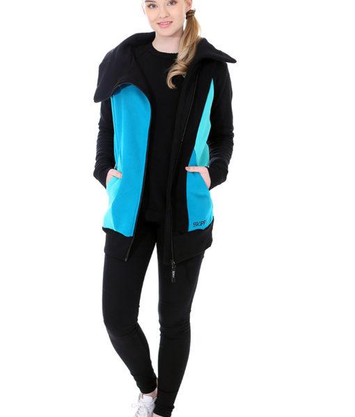 Dospělé dupačky Mikino-kabátek turquoise black