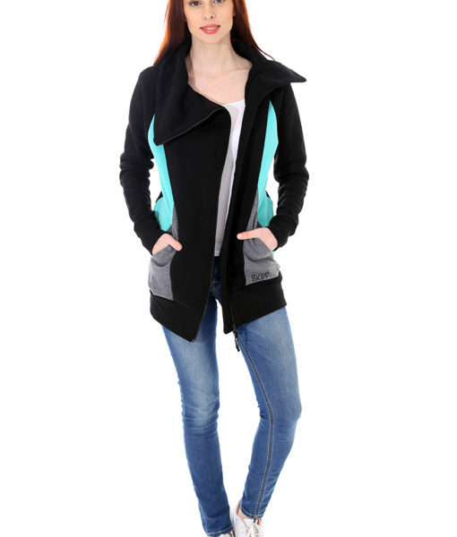 Dospělé dupačky Mikino-kabátek black turquoise grey