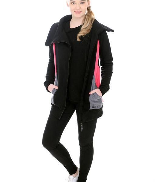 Dospělé dupačky Mikino-kabátek black pink grey